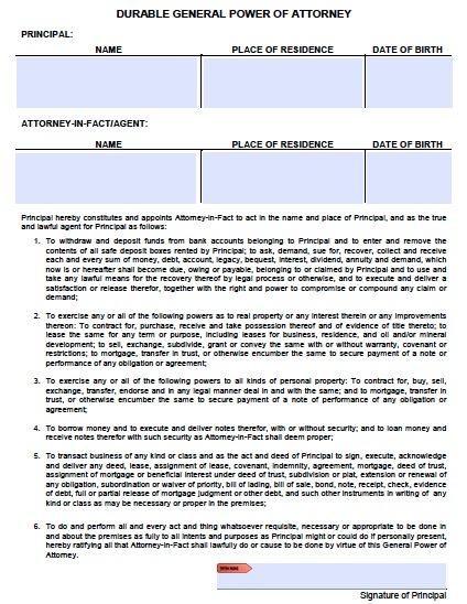general power of attorney form pdf
