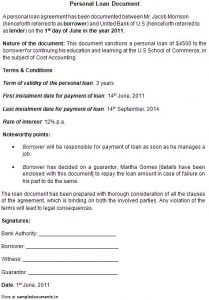 general power of attorney sample personal loan contract