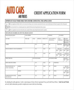 generic application form auto credit application form