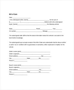 generic bill of sale form generic bill of sale form for automobile