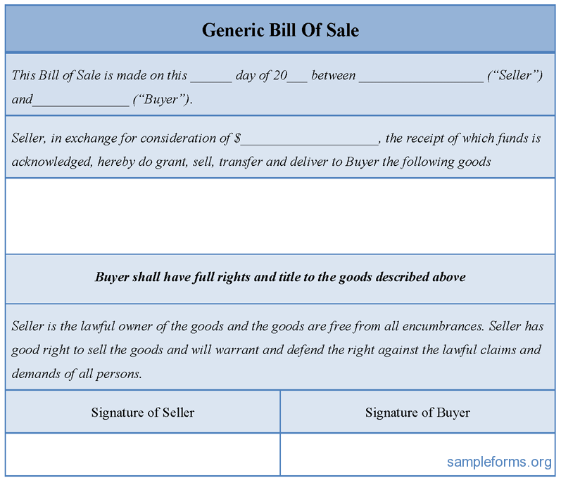 bill of sale generic