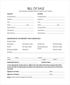 generic bill of sale form printable generic bill of sale