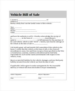 generic bill of sale generic bill of sale for car