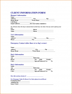 Generic Car Bill Of Sale Customer Information Form Template  Client Information Form Template