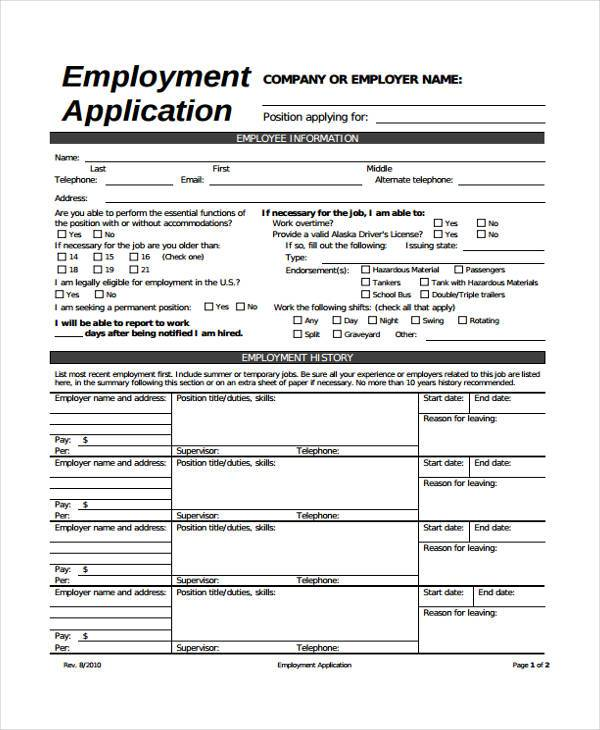 Generic Job Application Form  Template Business