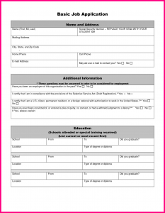 generic job application form simple job application