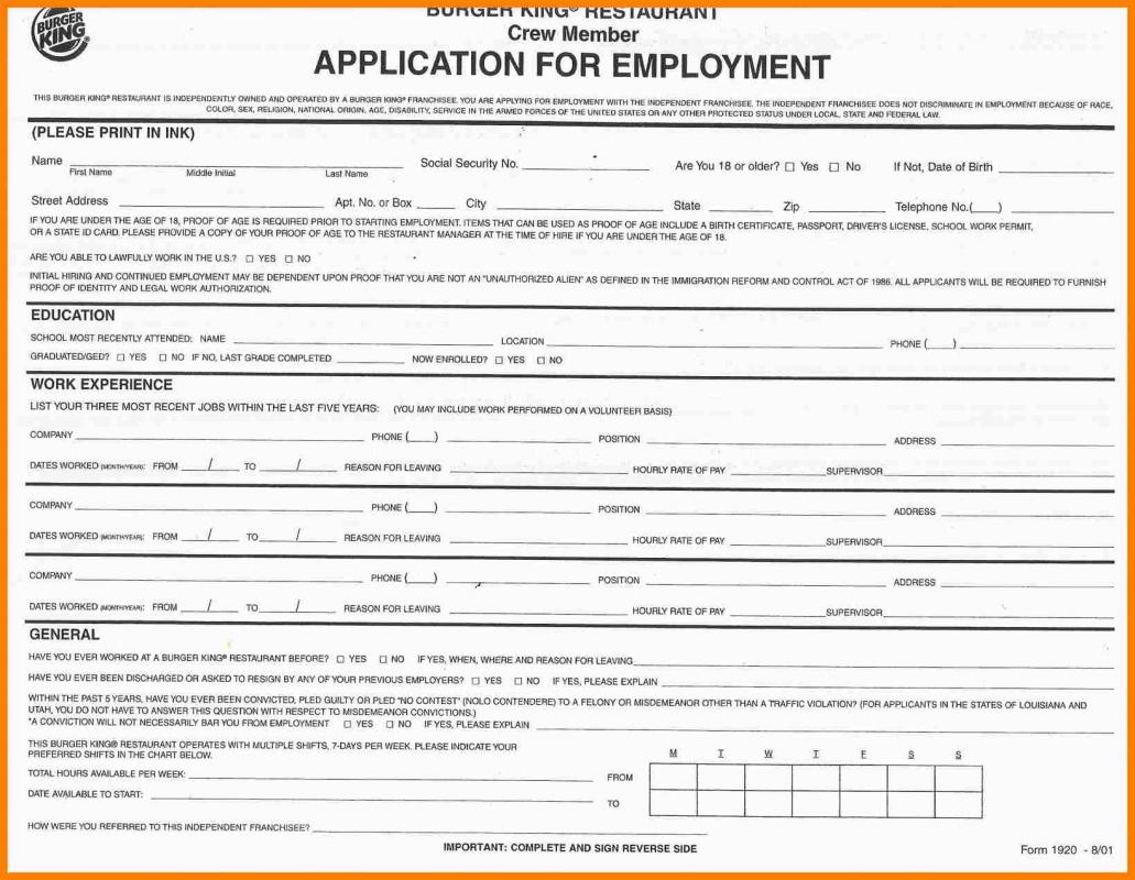 Taco Bell Job Application Form Print Out on
