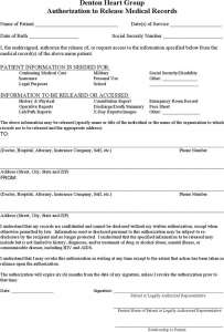 generic medical records release form generic authorization to release medical records form