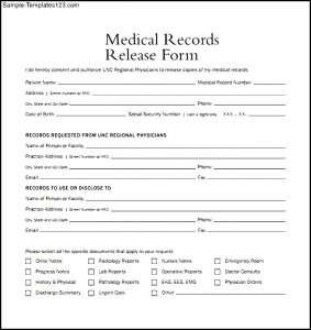 generic medical records release form medical records release form example