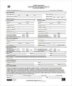 generic rental application generic standard rental application template pdf