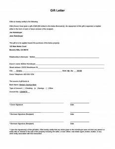gift letter for mortgage gift letter sample e