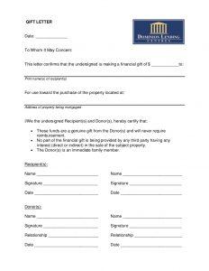 gift letter for mortgage sample gift letter
