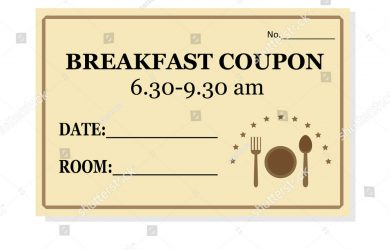gift tag template free stock vector breakfast coupon template for hotel isolated on white background vector