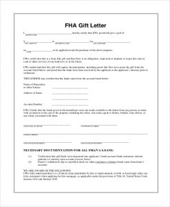 gifting letter template fha gift letter