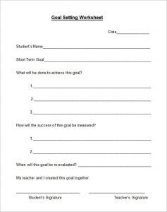 goal setting template goal setting worksheet format download