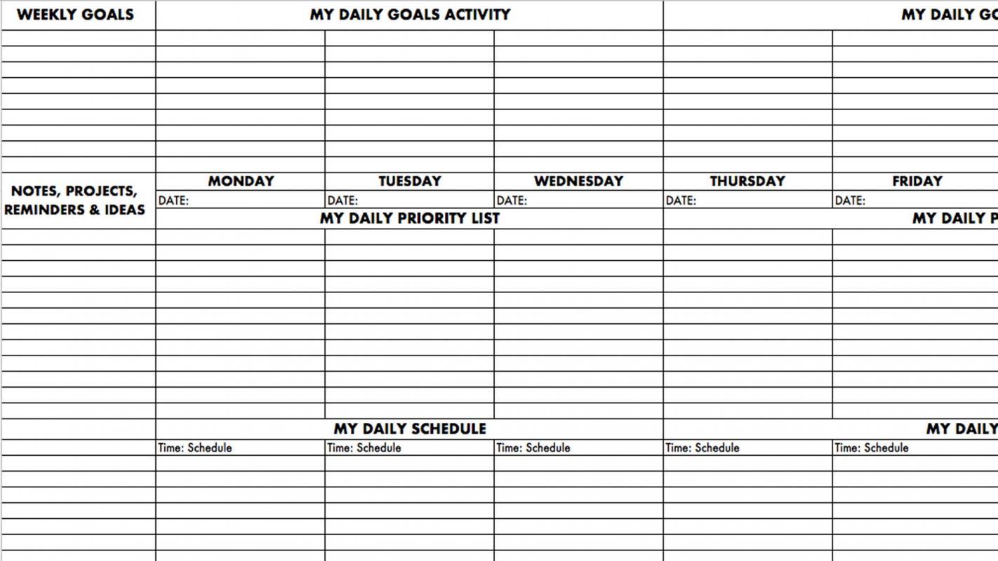Goal setting worksheet template pdf