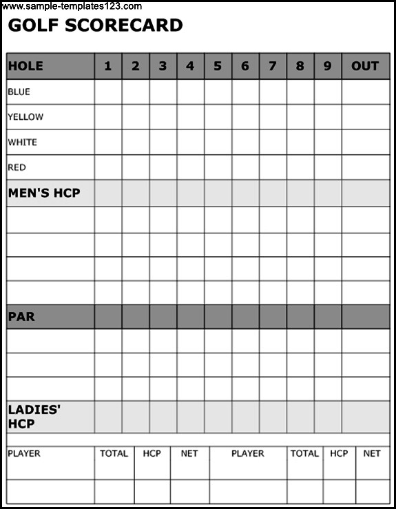 Unusual image intended for printable golf scorecard