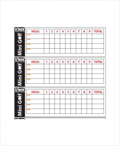 golf scorecard template mini golf scorecard