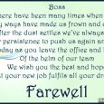 goodbye email to coworkers after resignation touching farewell card quote to boss from colleagues