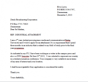 grad school letter of intent sample industrial attachment application letter