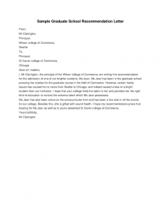 grad school letter of recommendation sample graduate school recommendation letter