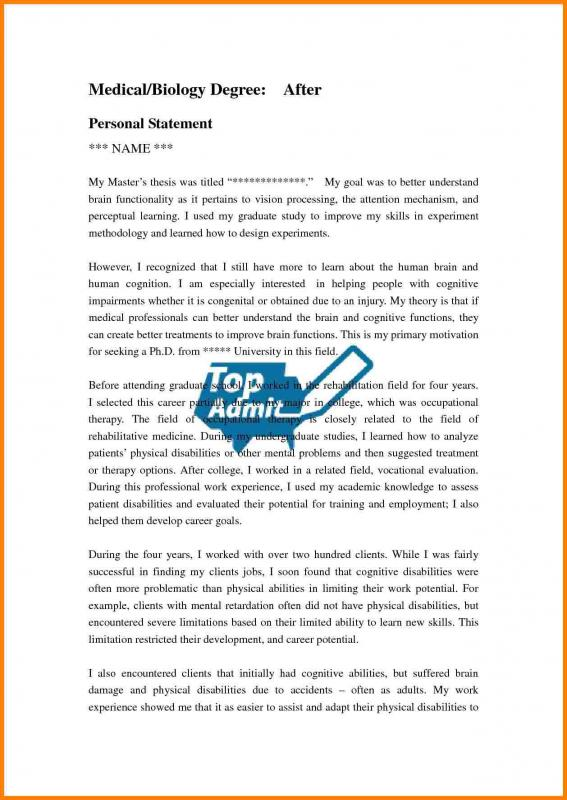 Grad School Personal Statement Examples  Template Business