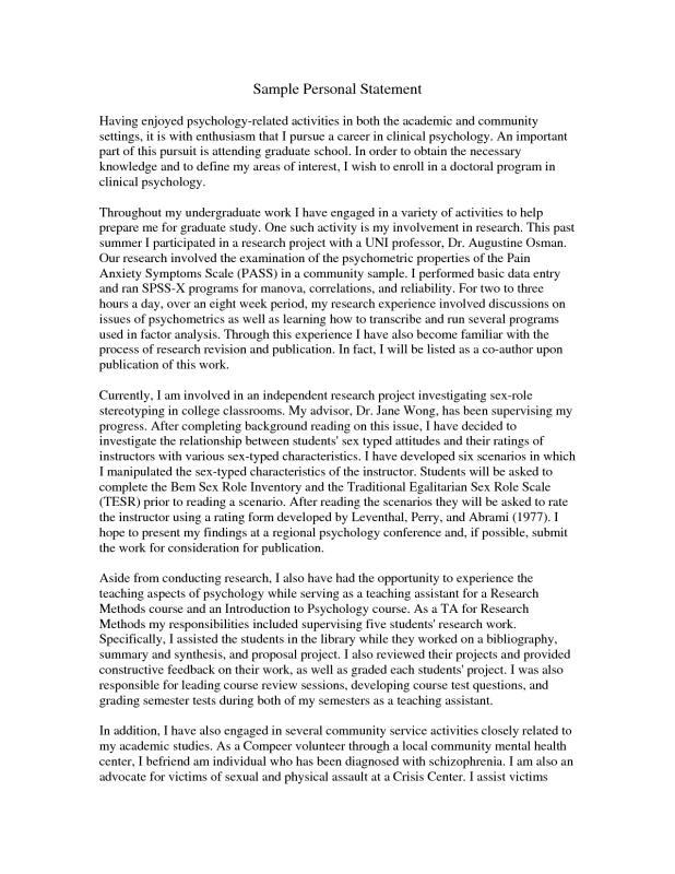 grad school personal statement examples
