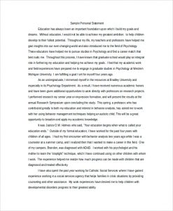 grad school personal statement personal statement example for graduate school education