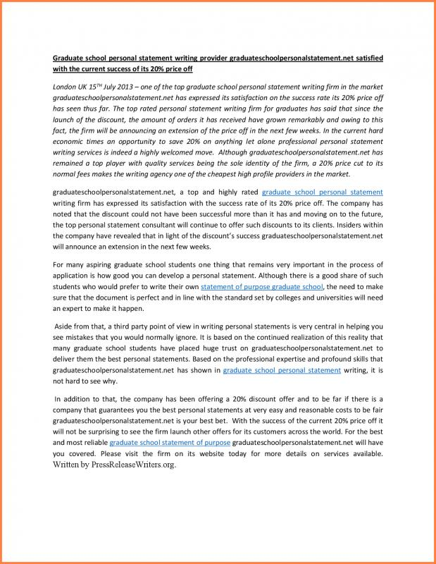 Grad School Personal Statement  Template Business