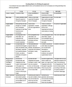 grading rubric template writing assignment grading rubric template free download