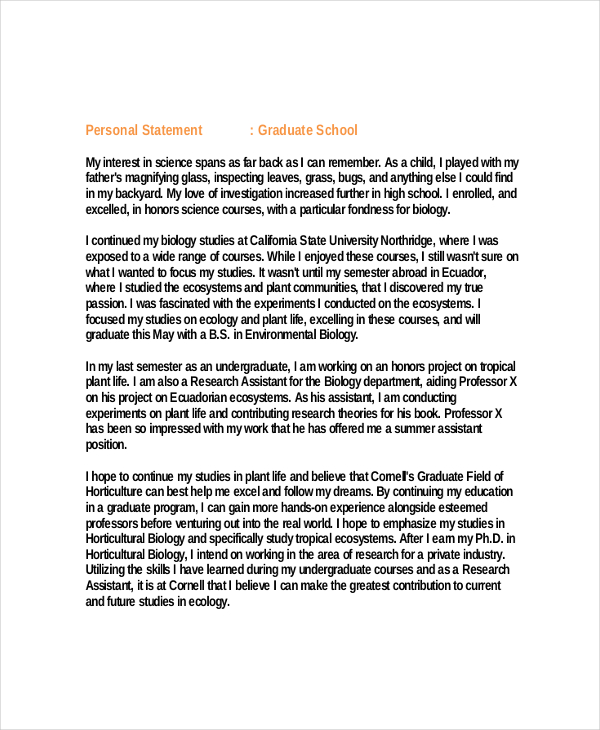 Examples of a personal statement for graduate school