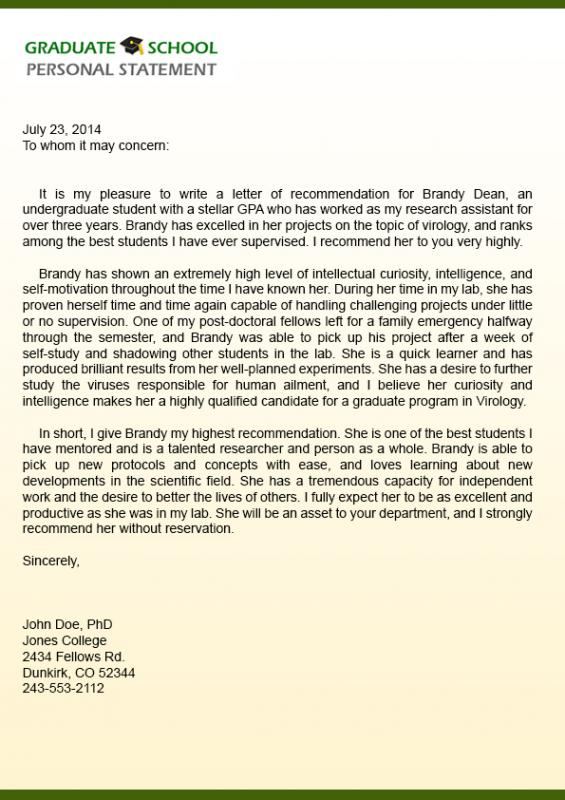 Graduate school recommendation letter template business graduate school recommendation letter spiritdancerdesigns Choice Image