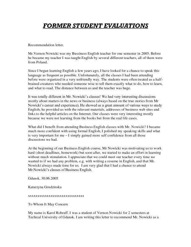 Graduate School Recommendation Letter  Template Business