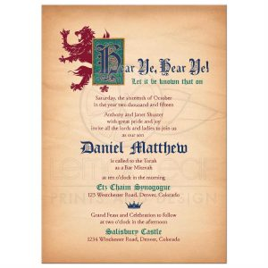 graduation card template rectangle medieval gothic fantasy bar mitzvah invitation front