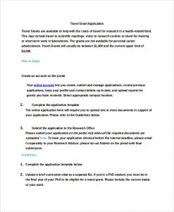 grant application template travel grant application template