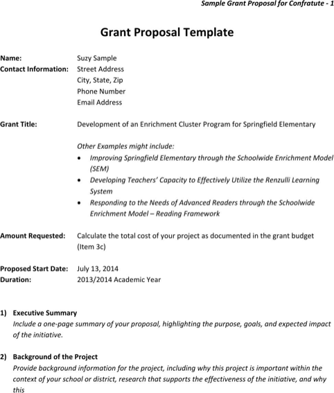 grant template for nonprofit - grant proposal template template business