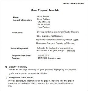 grant proposal template sample grant proposal template