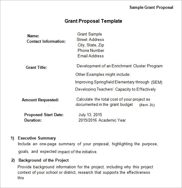 Sample Letter Of Proposal For Funding.  Grant Proposal Template Business