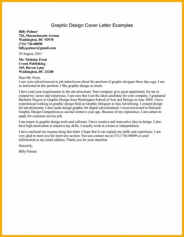 graphic design cover letter - Cover Letter For Graphic Designer