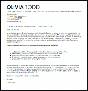 graphic design cover letter sample freelance graphic designer