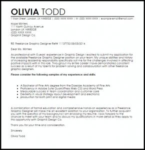 Graphic Design Cover Letter Sample Freelance Designer
