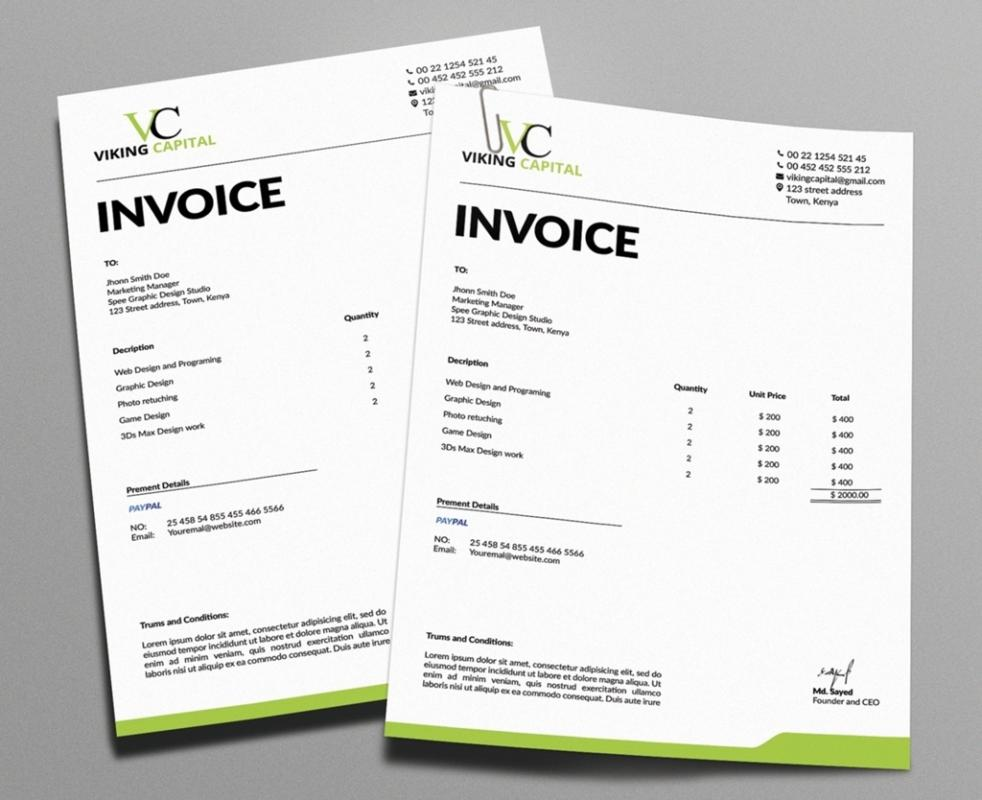 Graphic Design Invoice  Template Business