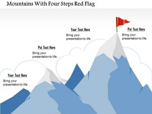 graphic design proposal template business plan mountains with four steps red flag powerpoint template slide