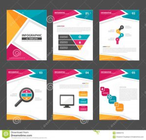graphic design proposal template pink yellow green infographic elements presentation template flat design set advertising marketing brochure flyer leaflet