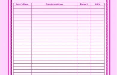 guest list template download wedding guest list template