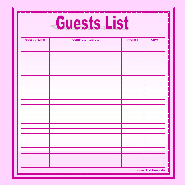 business guest list