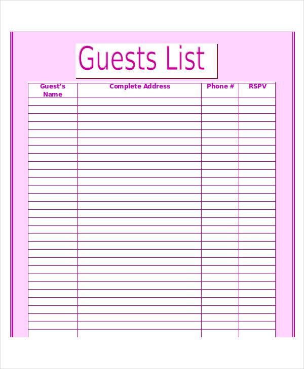 guest list template