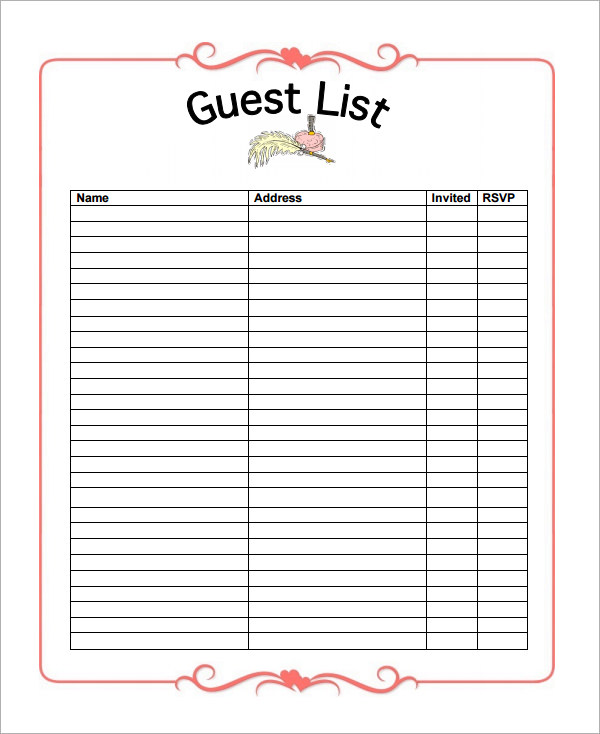 Guest List Template  Template Business