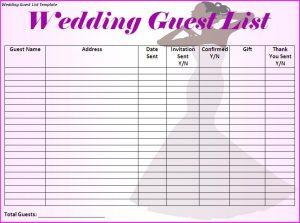 guest list template wedding guest list template