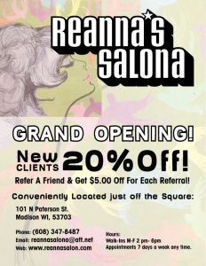 hair salon flyers reanna salona flyer